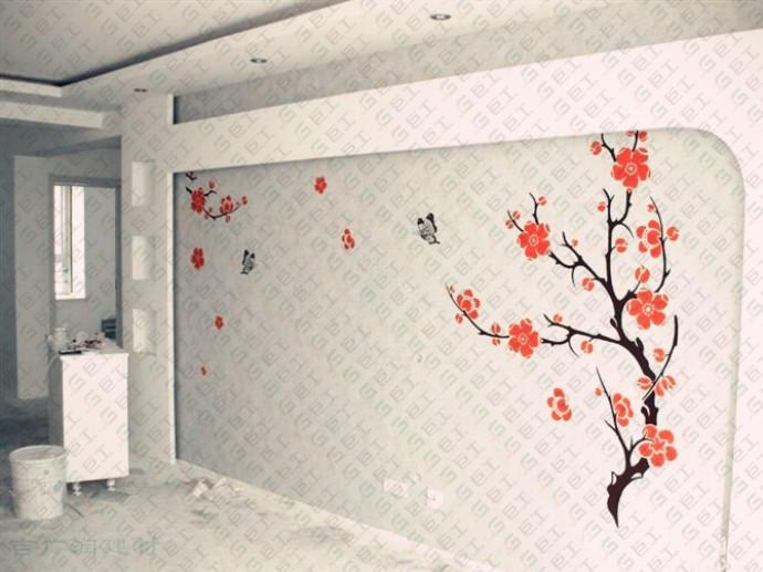 硅藻泥电视墙边框效果图